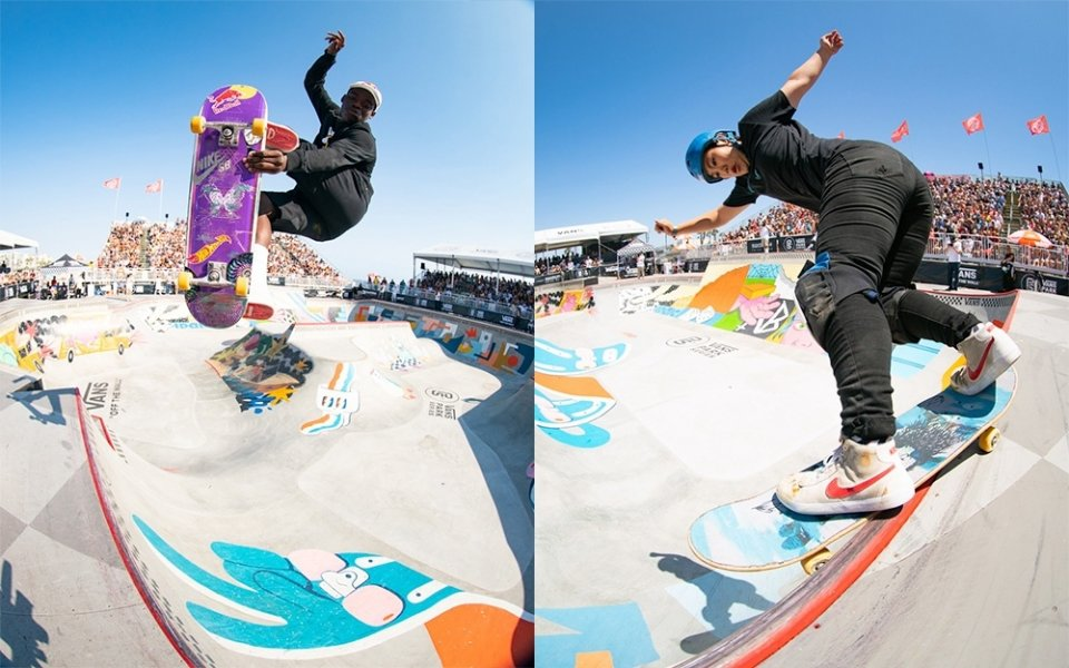 Zion Wright &amp; Kisa Nakamura have claimed their maiden Vans Park Series victories in Huntington Beach  Photo: Anthony Acosta</span>