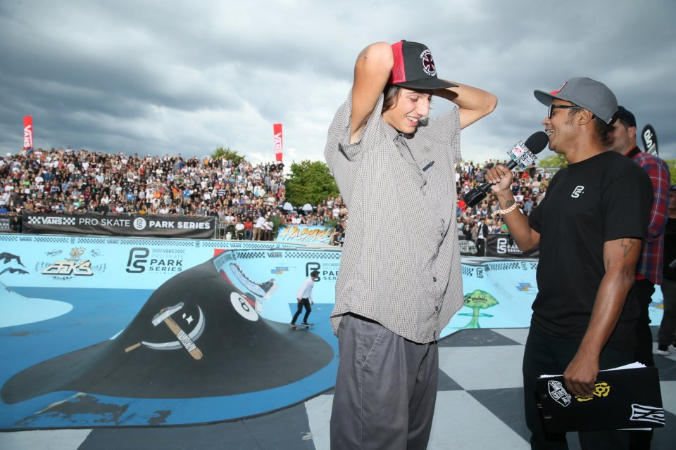 Ivan Federico doing the winner interview for the first time on Vans Park Series  Photo: Anthony Acosta</span>