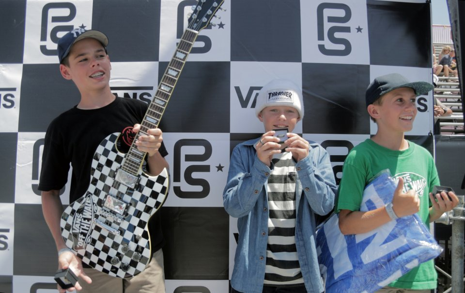 The future is bright. Jack Winburn, CJ Collins and Tate Carew taking to the podium for the Vans Park Series Junior Contest  Photo: Patrick O&#039;Dell</span>